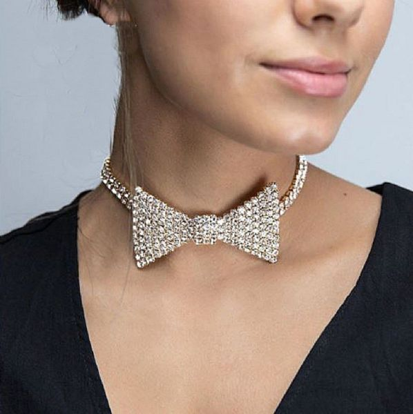 Women's Rhinestone Bow Tie Choker Necklace Sexy Fashion Jewelry Zabardo